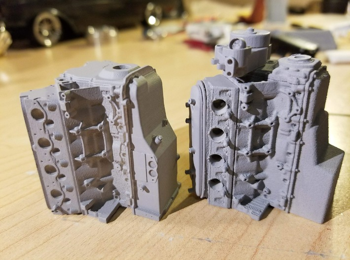 LS Short Block 3d printed Our engine in the left compared with a competitors junk on the right.