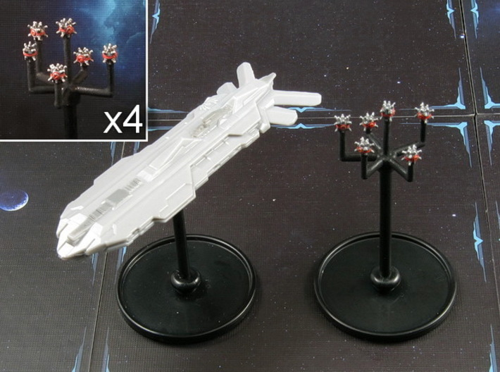 Space mine fields (4 pcs) 3d printed Hand-painted Frosted Ultra Detail