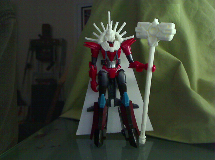 Mistress of Flame head for RID Windblade 3d printed test print from my 3d printer
