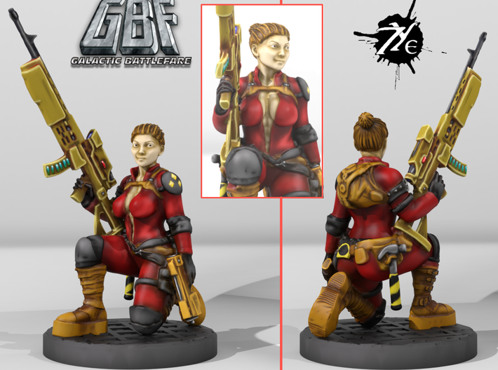 Female Enginner w Sniper (Terran - GBF) 3d printed Painted in Russian Consortium scheme
