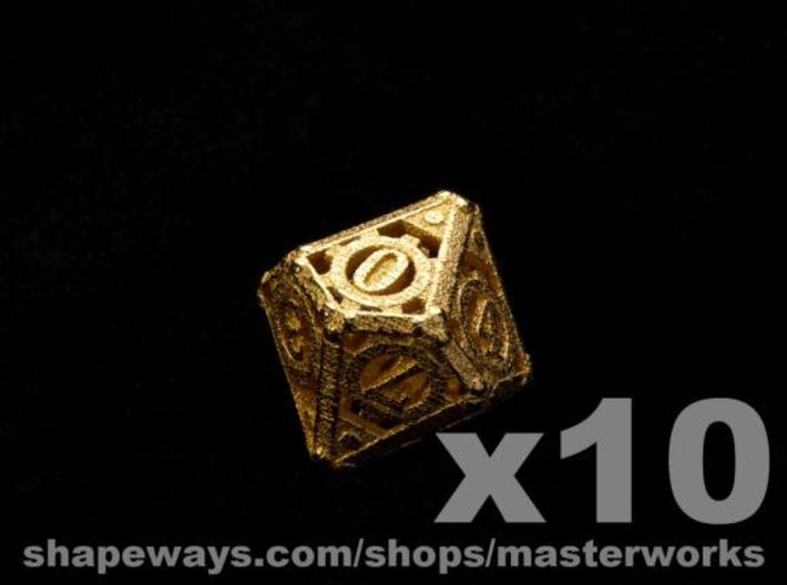 Steampunk 10d10 Set 3d printed Gold Plated Glossy