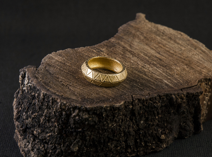 Tri Loop Ring 3d printed Photo of the ring in Polished Gold Steel