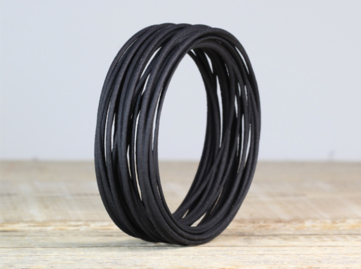 black statement bangle modern jewelry design gift 3d printed black statement bangle