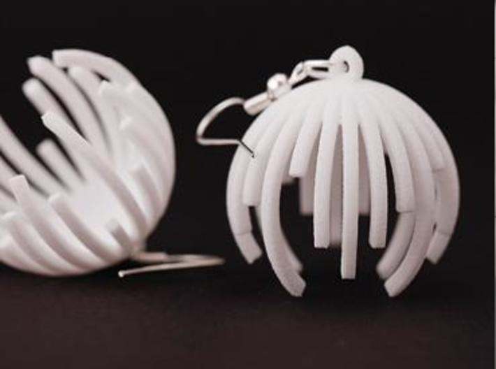 TIME - earrings 3d printed White