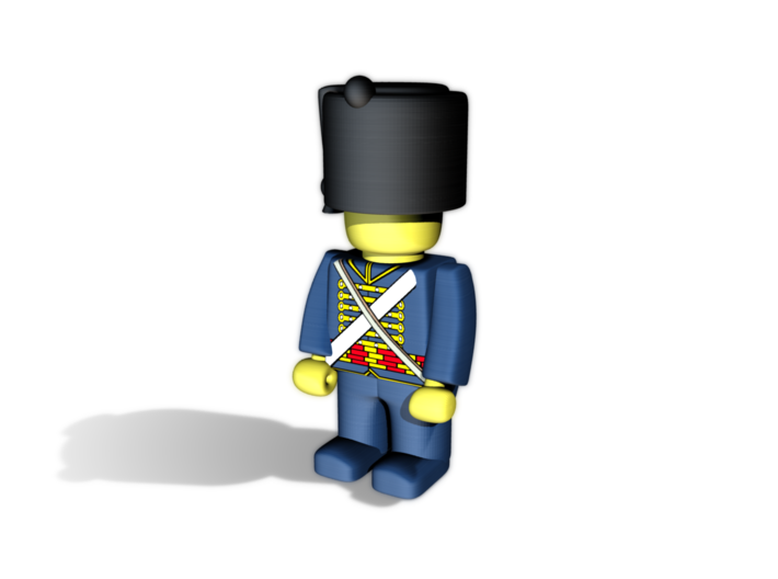 Hussar Shako 3d printed Example figurine (French Hussar) wearing the helmet in black Hi-Def Acrylate