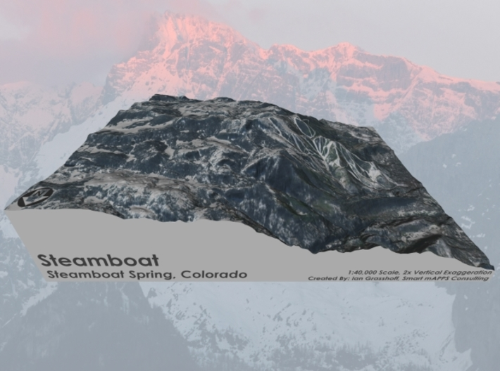 "Steamboat, Colorado - Winter: 8"" x 10"" 3d printed"