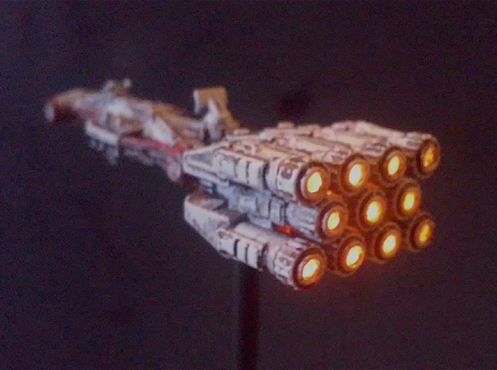 "Rebellious Spaceship, 1:2700 3d printed Painted and lit by the late Robert ""Robiwon"" Cass, shown here with permission"
