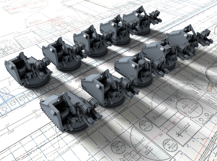 1/700 Twin 20mm Oerlikon Powered MKV Mount x10 3d printed 3d render showing product detail