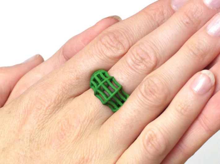 black parametric ring statement jewelry, wide ring 3d printed parametrical ring in green on finger