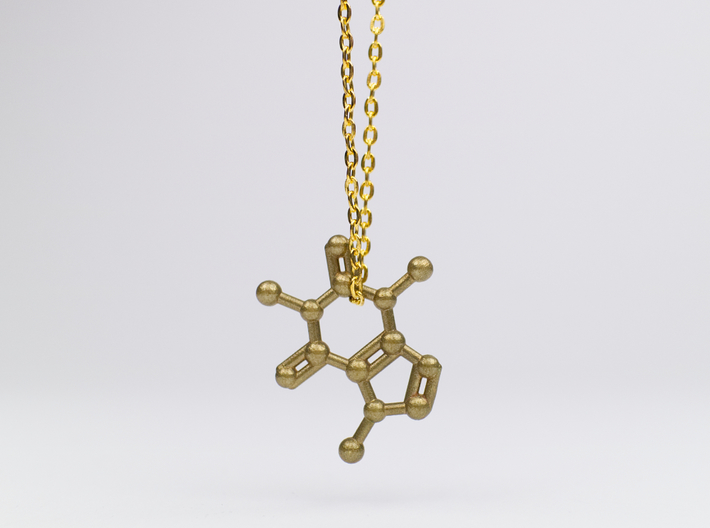 Caffeine Molecule Necklace / Keychain 3d printed Caffeine Molecule Necklace