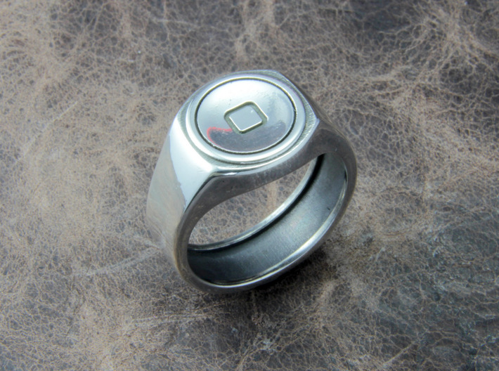 Home button Ring 3d printed This material is Polished Silver , Patinated with bleach