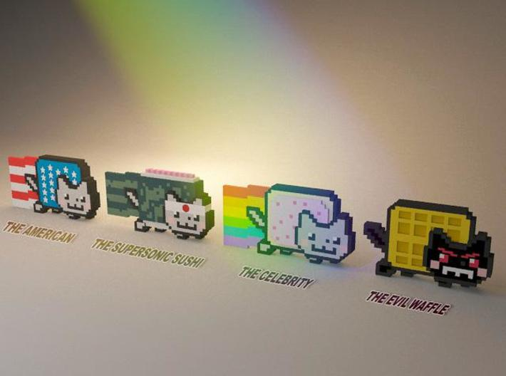 Nyan cat figurines 3d printed Text added in photoshop
