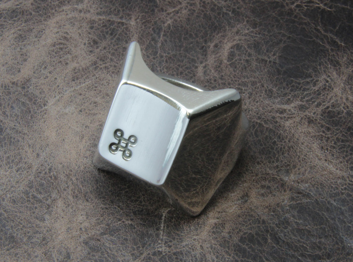 Keyboard Ring 3d printed This material is Polished Silver , Patinated with bleach