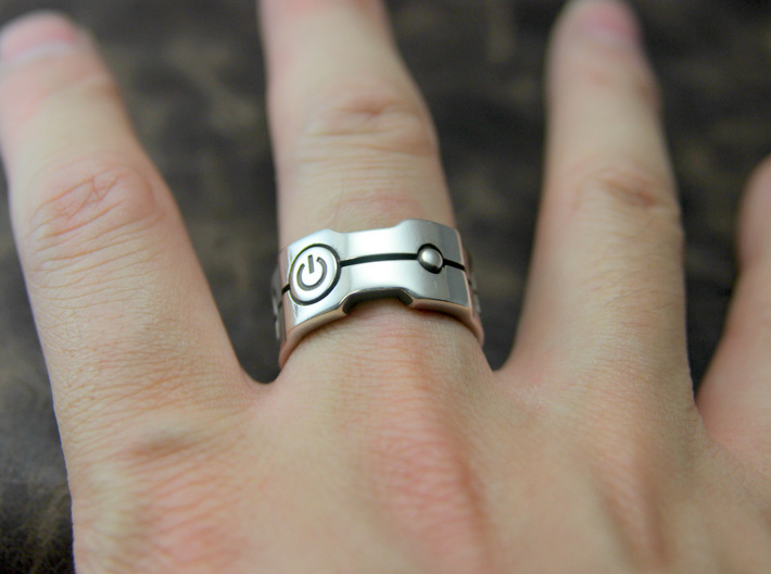 Power icon Ring 3d printed This material is Polished Silver , Patinated with bleach