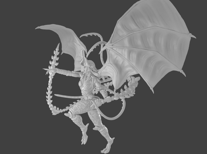 Female demon character 3d printed Render side