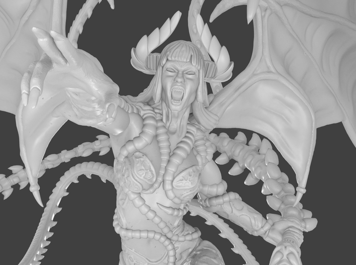 Female demon character 3d printed Render detail