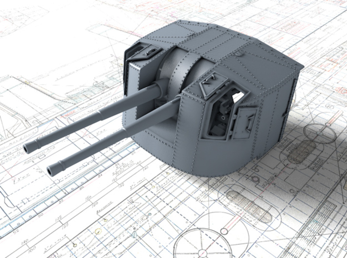 "1/72 Tribal Class 4.7"" MKXII CPXIX Twin Mount x1 3d printed 3d render showing product detail"