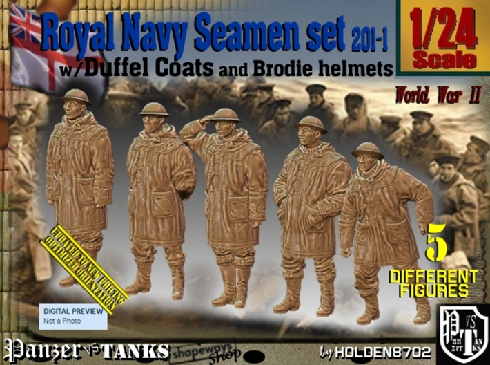 1/24 Royal Navy Duffel Coat Set201-1 3d printed