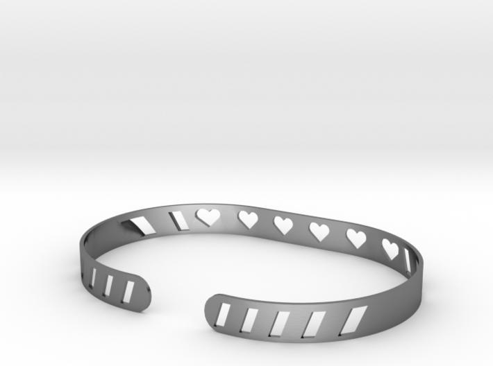 Sleek Heart Bracelet 3d printed