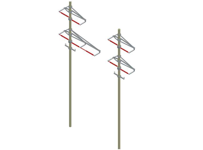 PRR CATENARY Round pole HO SCALE curved 3d printed