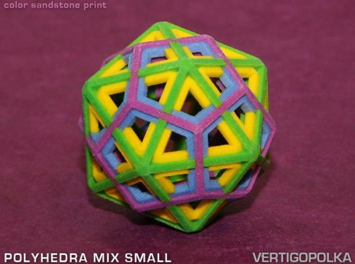 Polyhedra Mix Small 3d printed color sandstone print