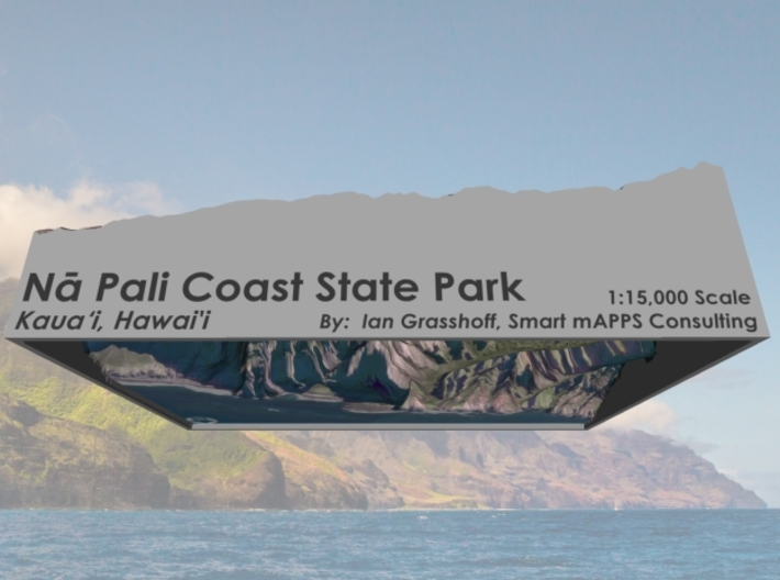 "Na Pali Coast North, Hawai'i: 6""x9"" 3d printed"