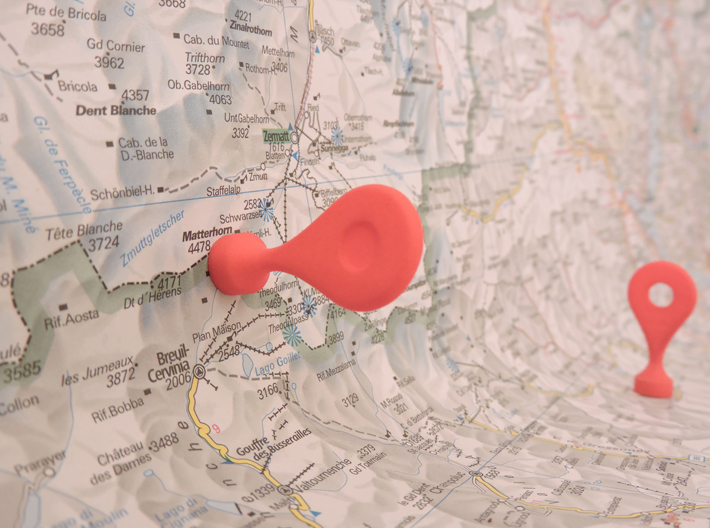 Google Maps Marker - Magnet (with hole) 3d printed Red Strong & Flexible Polished (v1.0; NOT this model; this one has a hole)
