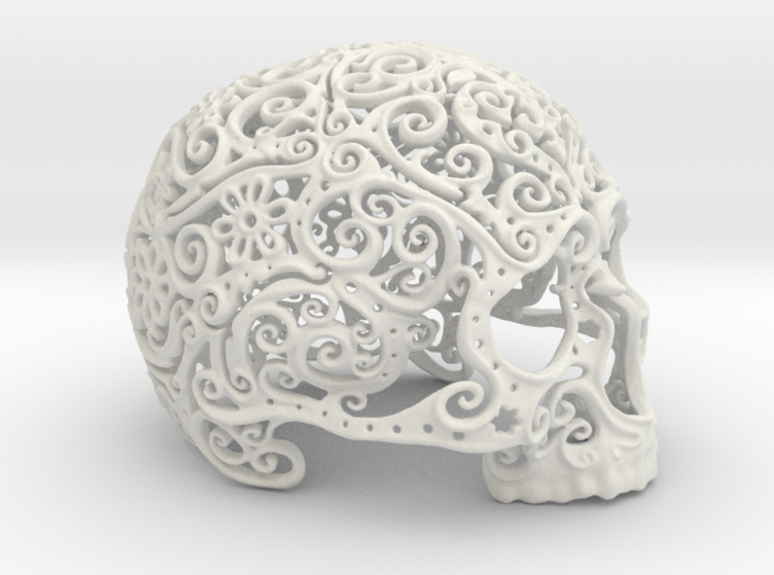 Intricate Filigree Skull 15cm 3d printed
