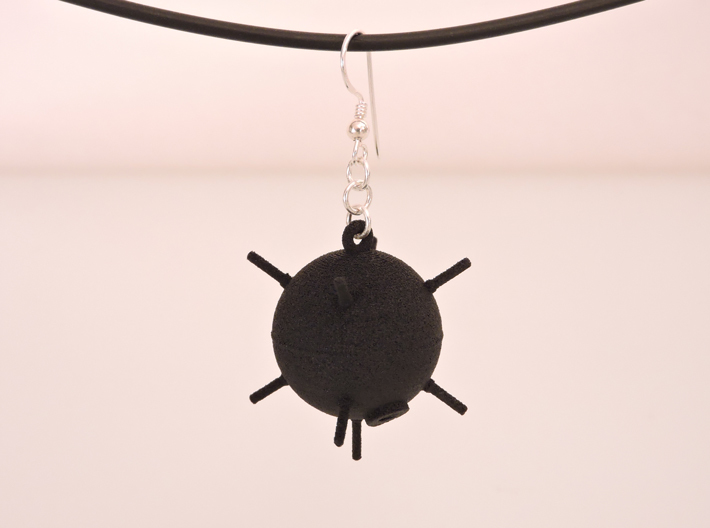 Sea Mine Earrings 3d printed Black Strong & Flexible (unpolished)