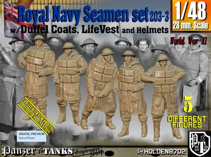 1/48 Royal Navy D-Coat+Lifevst Set203-3 3d printed
