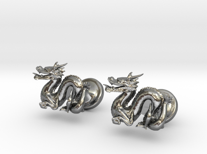 Dragon Cufflinks 3d printed