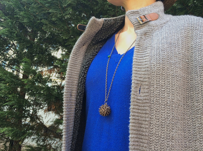 Sweetgum Tree Seed Pendant: Necklace/Earring 3d printed Steel is not too heavy, not too light