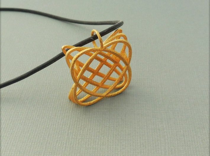 Basket - Pendant in Polished Steel and Polished Ca 3d printed