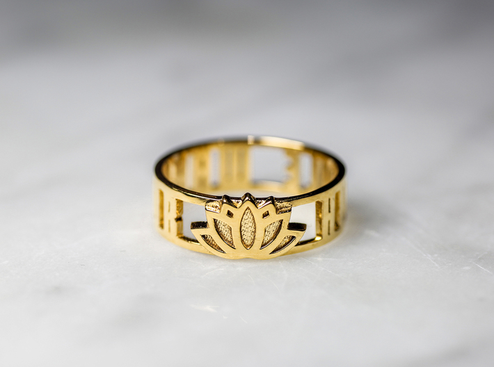 Humble Warrior w/ Lotus Flower, 14k Gold Plated 3d printed