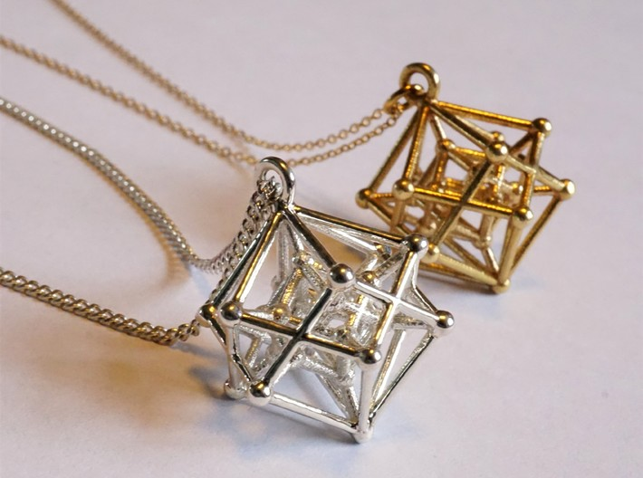 Introspection Pendant 3d printed Hyperpoly Pendant in Silver and Brass