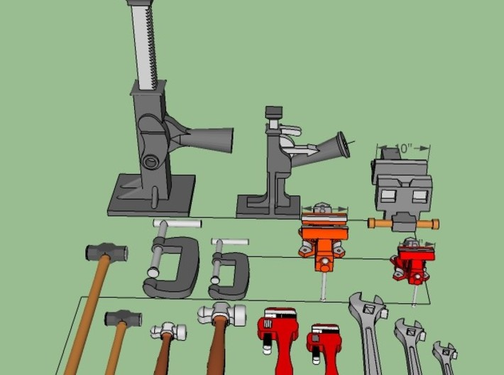Engine House tools & details 3d printed