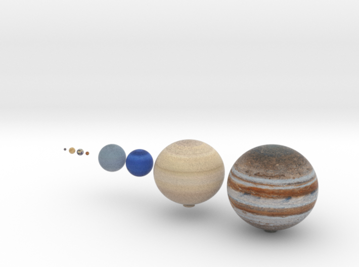 The 8 planets to scale, 1:1.5 billion 3d printed