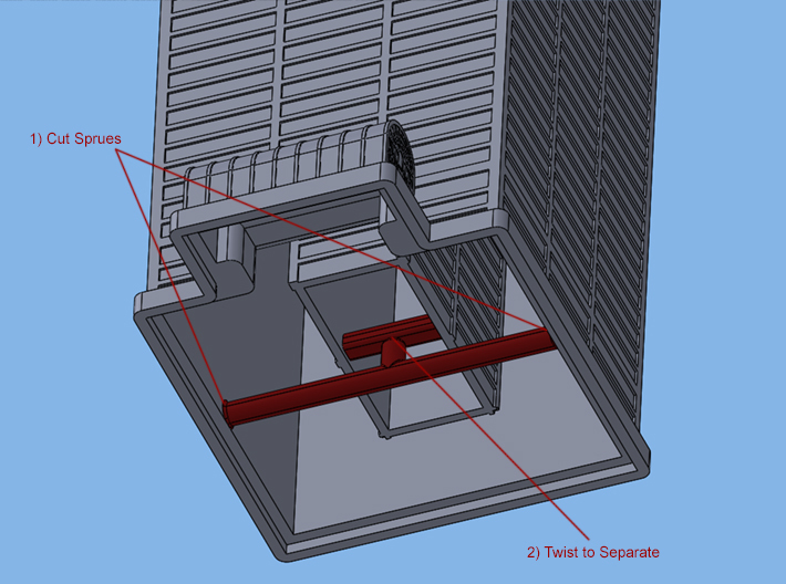 Willis Tower (1:2000) 3d printed Instructions for sprue removal.