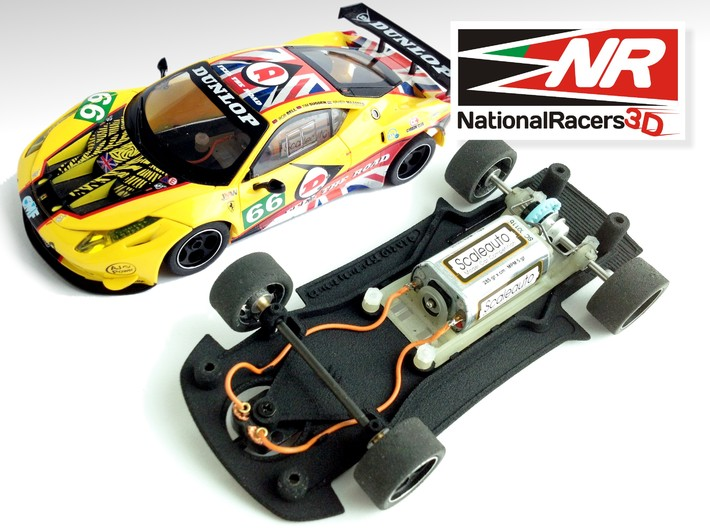 3D Chassis - Carrera Ferrari 458 GT2 (Combo) 3d printed Chassis compatible with Carrera model (slot car and other parts not included)