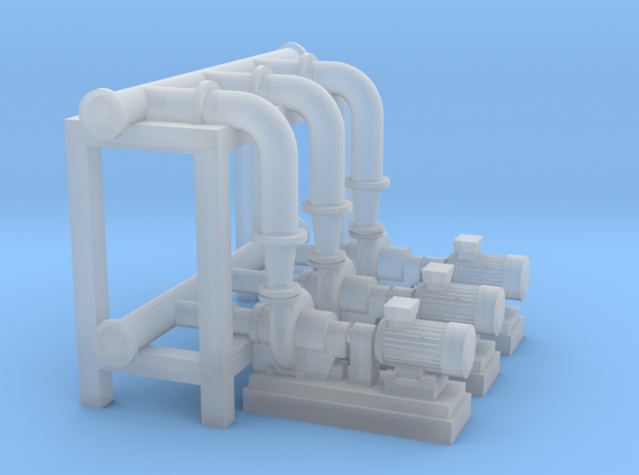 N Scale Pump Section 3 Pumps 3d printed