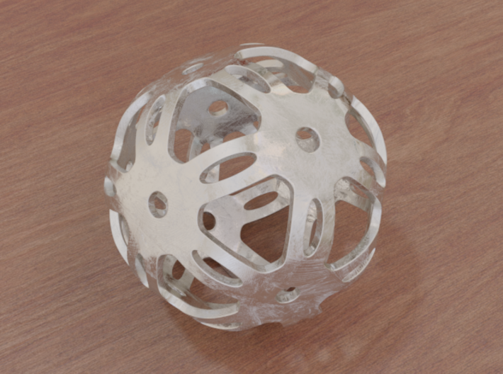 Well Rounded Symmetrical Sphere 3d printed Stainless Steel (render)