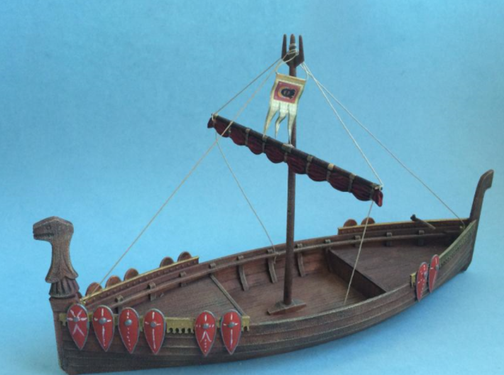 Medieval Russian Warship, with shields and open ca 3d printed Add a caption...