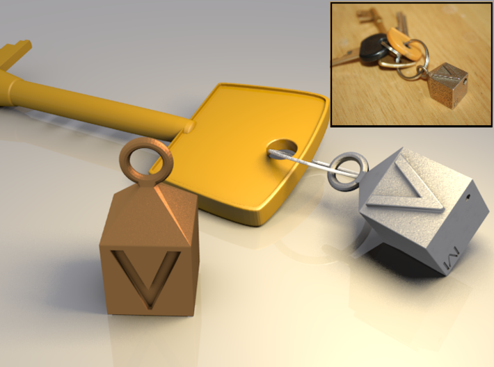 Keychain With Letter - V 3d printed Keychain With Letter - V