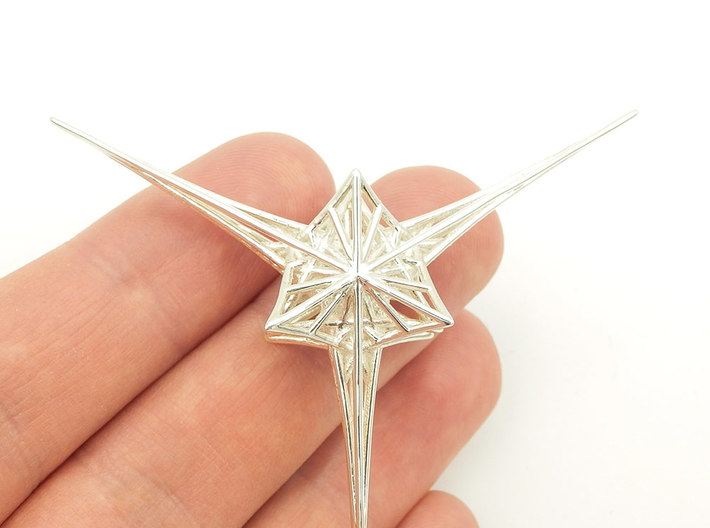 Angelic Star - Flower of Life based pendant 3d printed Angelic Star Sterling Silver