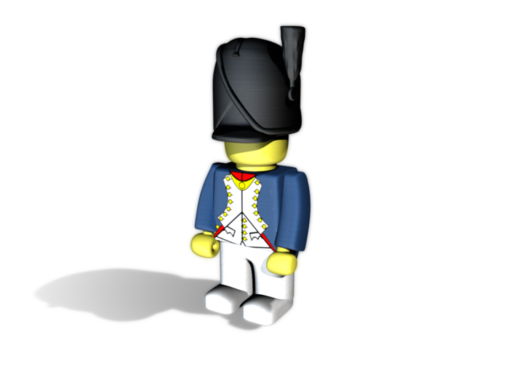 French Bearskin wPrim 3d printed Example figurine wearing the shako in black Hi-Def Acrylate