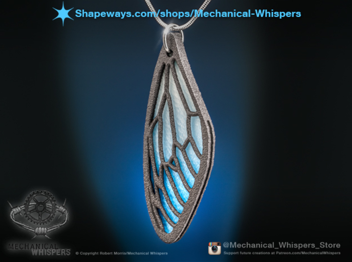 Cicada Wing Pendant - Outside 3d printed Shown with the plastic insert (sold separately), which was dyed with Rit, post printing.