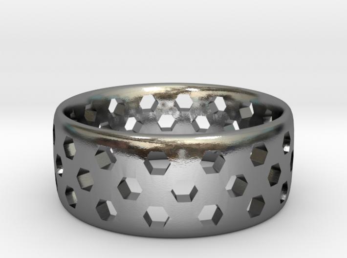 Hex Cutout Ring 3d printed