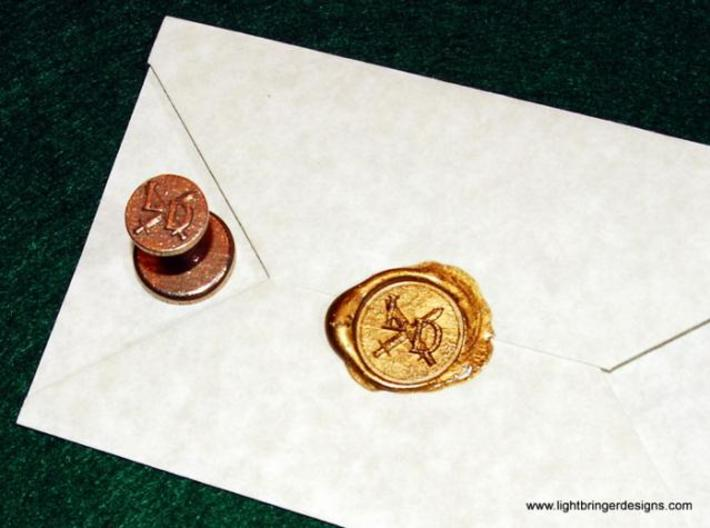 "Custom Wax Seal 3/4"" 3d printed This is a sample of a symbol with initials added"