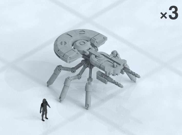 """6mm Spider Tanks (3) 3d printed Shown on 1"""" grid with 6mm figure (not included) for scale."""