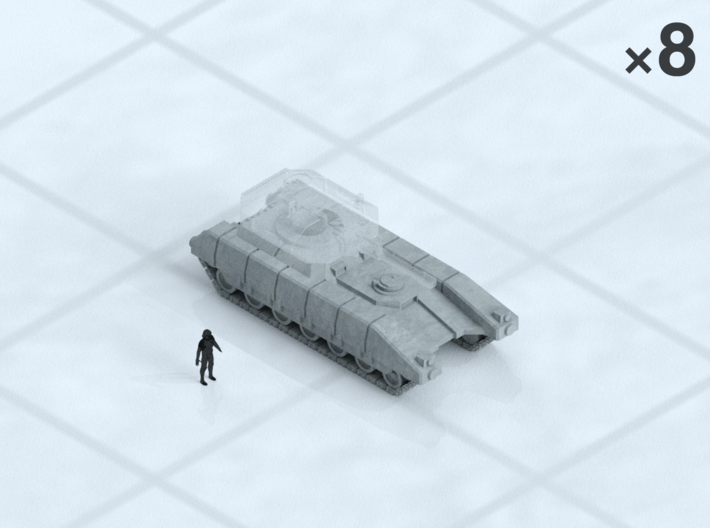 "6mm Tracked MBT Chassis (8) 3d printed Shown on 1"" grid with 6mm figure (not included) for scale."